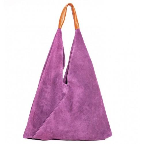 Δερμάτινη Σουέτ Τσάντα Ώμου J&A BAGS Μώβ