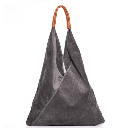 Δερμάτινη Σουέτ Τσάντα Ώμου-Χειρός J&A BAGS Γκρί