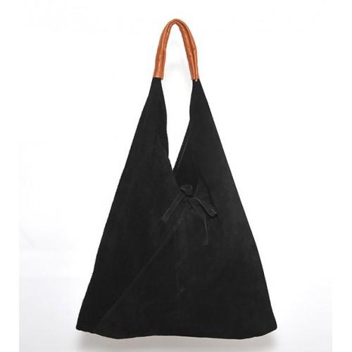Δερμάτινη Σουέτ Τσάντα Ώμου-Χειρός J&A BAGS Μαύρο